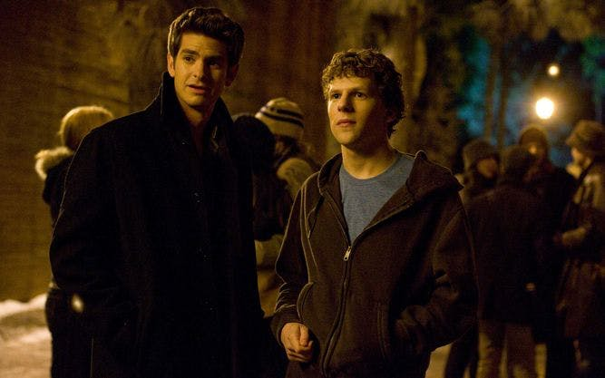 "Andrew Garfield, left, and Jesse Eisenberg stars as ""Mark Zuckerberg"" in Columbia Pictures' THE SOCIAL NETWORK."