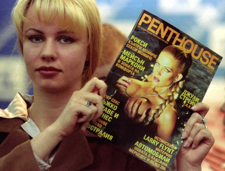 A model poses with the first issue of the Bulgarian edition of Penthouse monthly magazine in Sofia September 17. This is the first international erotic magazine to be issued in the Balkan state after the collapse of communism in 1989. Dozens of local pornographic magazines have hit the newsstands since then.  EK/ME - RTRHD9D