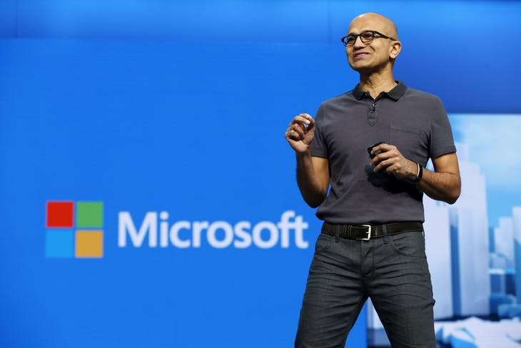 Microsoft CEO Satya Nadella delivers the keynote address during the Microsoft Build 2016 Developer Conference in San Francisco, California March 30, 2016. REUTERS/Beck Diefenbach - RTSCVJQ
