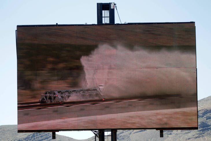 A video replay shows a test sled being slowed by sand during a propulsion open-air test at Hyperloop One in North Las Vegas, Nevada, U.S. May 11, 2016.  REUTERS/Steve Marcus - RTX2DWEY