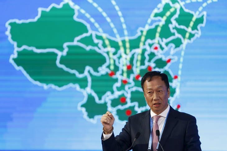 Terry Gou, founder and chairman of Taiwan's Foxconn Technology, speaks during a session of the 2nd annual World Internet Conference in Wuzhen town of Jiaxing, Zhejiang province, China, December 17, 2015. REUTERS/Aly Song - RTX1Z2BF