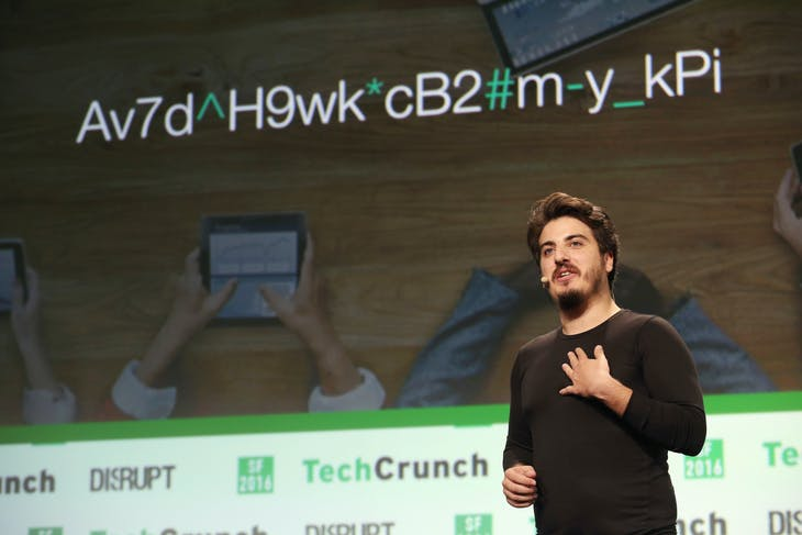 Antoine Vincent Jebara, of Myki, demonstrates his password manager app during the Startup Battlefield Competition of the 2016 TechCrunch Disrupt in San Francisco, California, U.S. September 13, 2016.  REUTERS/Beck Diefenbach - RTSNMHI