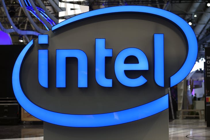Intel's logo is pictured during preparations at the CeBit computer fair, which will open its doors to the public on March 20, at the fairground in Hanover, Germany, March 19, 2017.  REUTERS/Fabian Bimmer - RTX31SV8