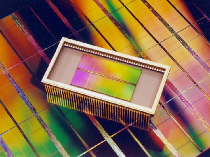 A 4GB DRAM memory chip developed by South Korea's Samsung Electronics is seen in this picture released February 8, 2001. The 4GB memory chip can store data equivalent to 640 books, 32,000 standard newspaper pages, and 1,600 still pictures or 64 hours of sound, Samsung Electronics said. The company plans to start a volume production of the memory chips in 2004 when the market is ready for the high-capacity memory chip.  LJW/DL - RP2DRIGSTSAA