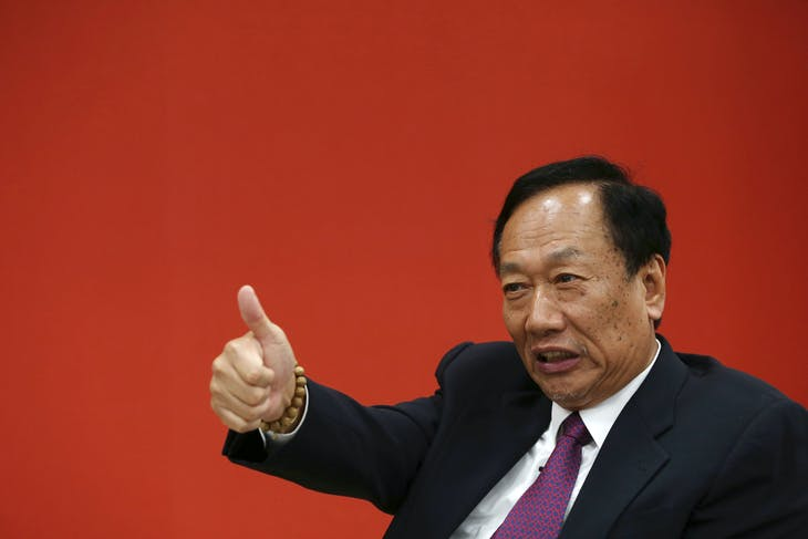 Terry Gou, founder and chairman of Foxconn reacts during an interview with Reuters in New Taipei City, Taiwan June 12, 2017. REUTERS/Eason Lam - RC15B9B7D780