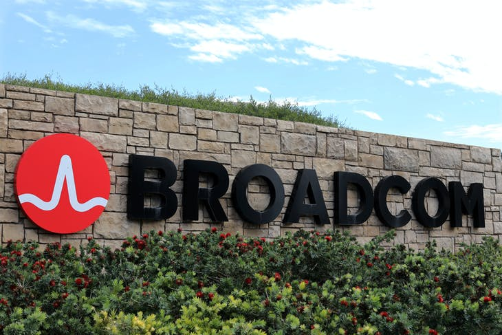 A sign to the campus offices of chip maker Broadcom Ltd, who announced on Monday an unsolicited bid to buy peer Qualcomm Inc for $103 billion, is shown in Irvine, California, U.S., November 6, 2017.     REUTERS/Mike Blake - RC1541CF2D00