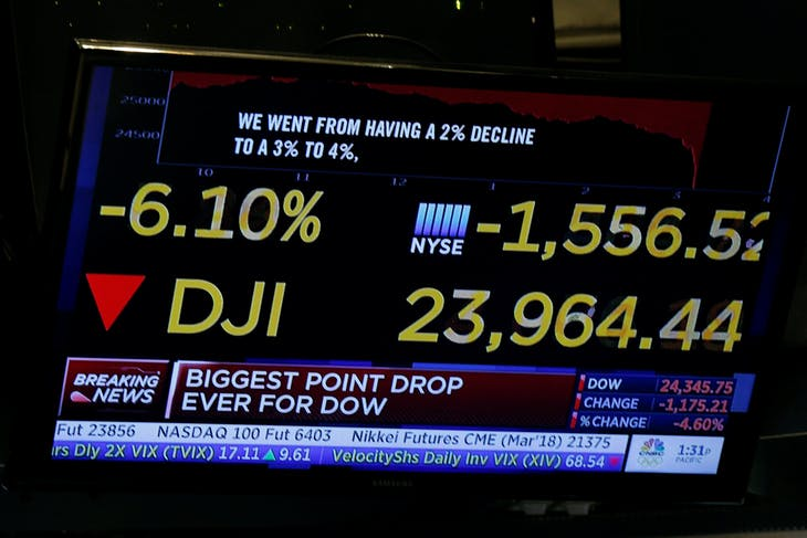 A screen shows CNBC's analysis of the Dow Jones Industrial Average during a sell off on the floor of the New York Stock Exchange, (NYSE) in New York, U.S., February 5, 2018. REUTERS/Brendan McDermid - RC1A341CDD40