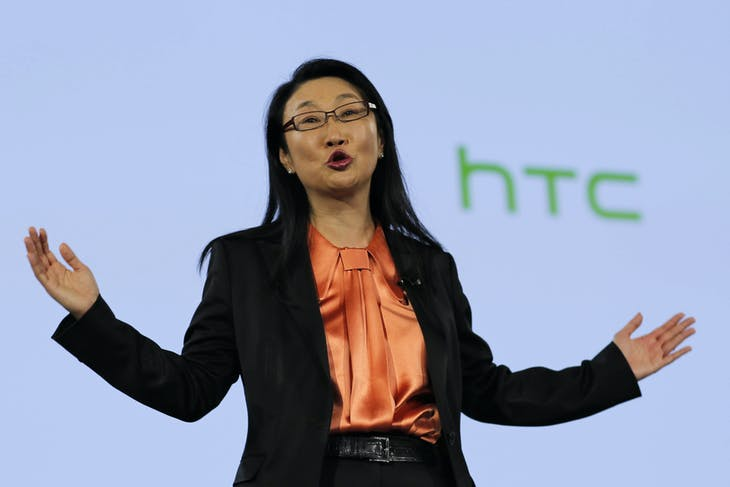 HTC Chairwoman Cher Wang, speaks to guests after the launch of three new products - the HTC desire eye smartphone, RE camera and RE eye experience software - during a presentation in New York October 8, 2014. REUTERS/Eduardo Munoz (UNITED STATES - Tags: BUSINESS SCIENCE TECHNOLOGY TELECOMS) - GM1EAA90LJD01