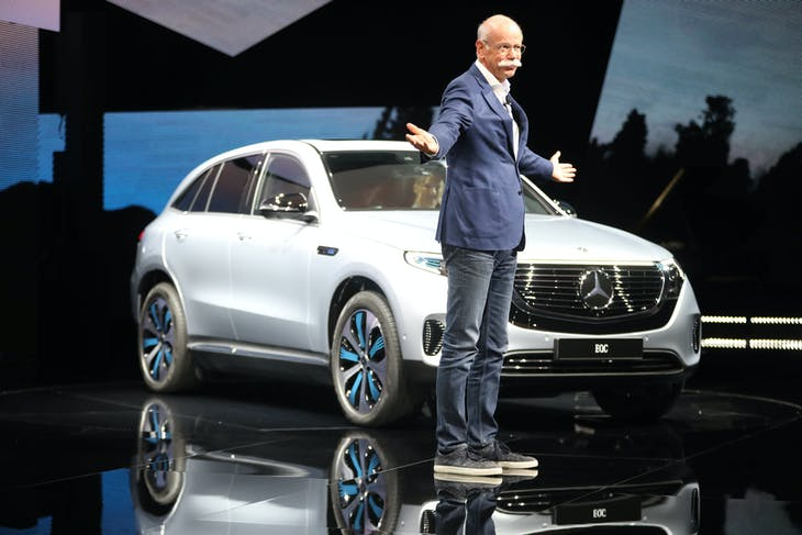 Dieter Zetsche, CEO Daimler AG and Head of Mercedes-Benz Cars, during a presentation of Mercedes EQC, new electric SUV at Artipelag art gallery in Gustavsberg, Sweden September 4, 2018. TT News Agency/Soren Andersson/via REUTERS      ATTENTION EDITORS - THIS IMAGE WAS PROVIDED BY A THIRD PARTY. SWEDEN OUT. NO COMMERCIAL OR EDITORIAL SALES IN SWEDEN. - RC16047C4FC0