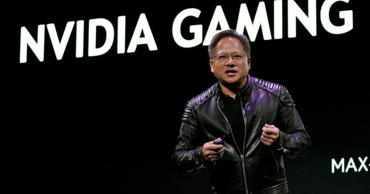 Jensen Huang, CEO of Nvidia, makes a point at his keynote address at CES in Las Vegas, Nevada, U.S. January 7, 2018. REUTERS/Rick Wilking - RC123F722500